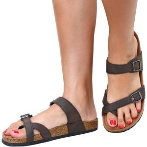 NIB Brown Adjustable Toe Strap Cork Slide Sandals